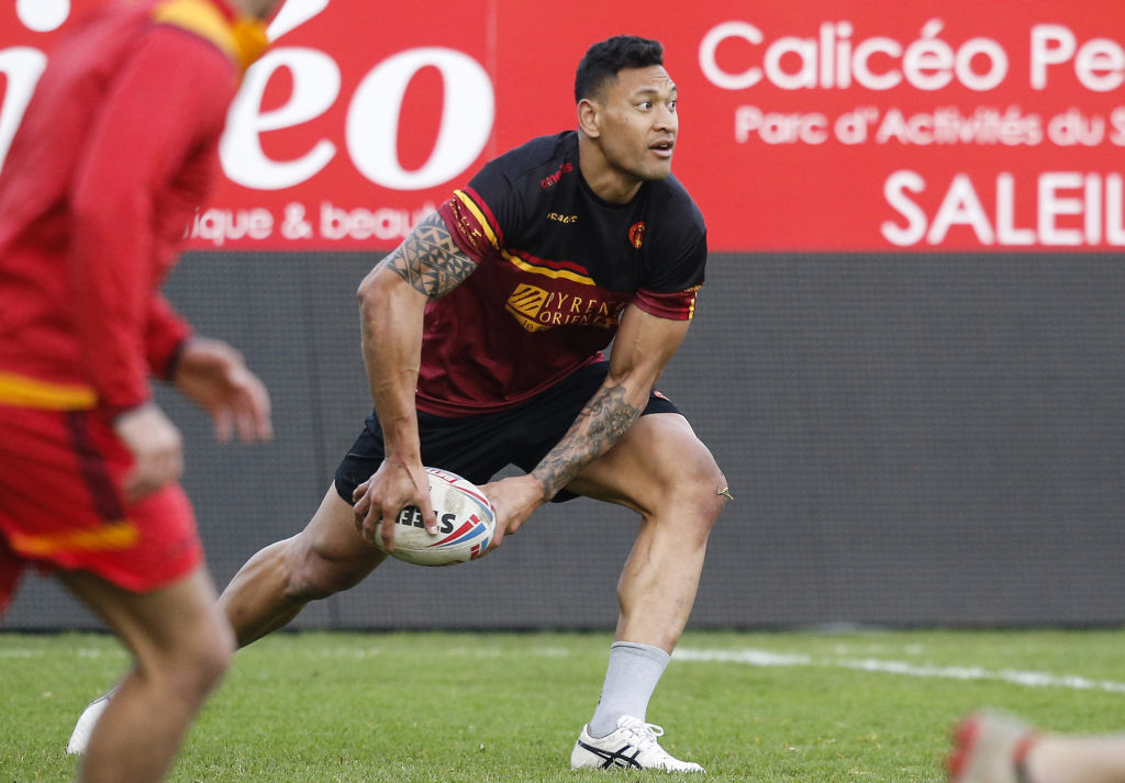 Catalans Dragons' Israel Folau takes part in his first training session at the Gilbert Brutus stadium in Perpignan on February 12, 2020
