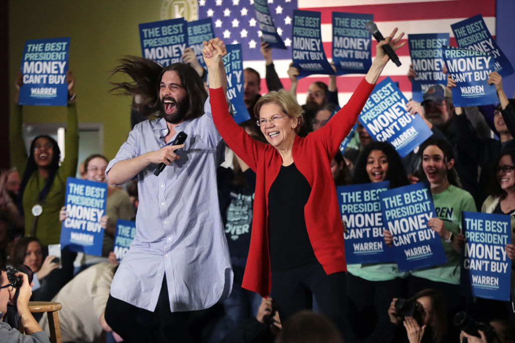 Jonathan Van Ness, of the Netflix series Queer Eye, introduces Democratic presidential candidate, Sen. Elizabeth Warren