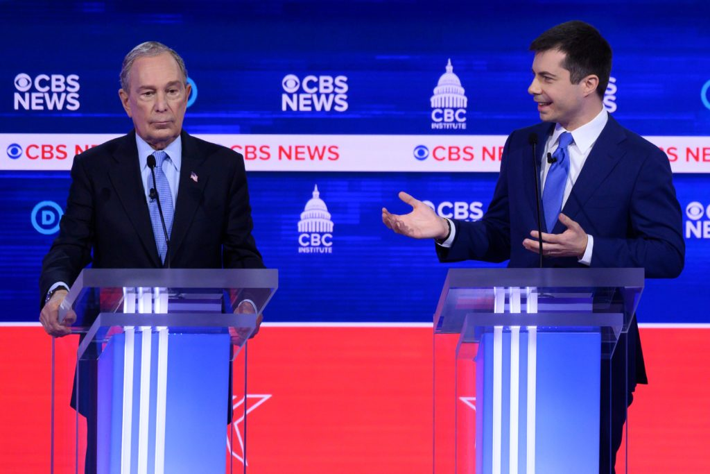 Democratic presidential hopefuls former New York mayor Mike Bloomberg (L) and former mayor of South Bend, Indiana Pete Buttigieg (R) both sparred with Bernie Sanders during the South Carolina debates. (JIM WATSON/AFP via Getty Images)