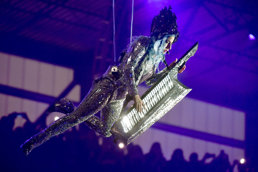 Lady Gaga doing her best Spongebob SquarePants Movie impression. (Theo Wargo/Getty Images for AT&T)
