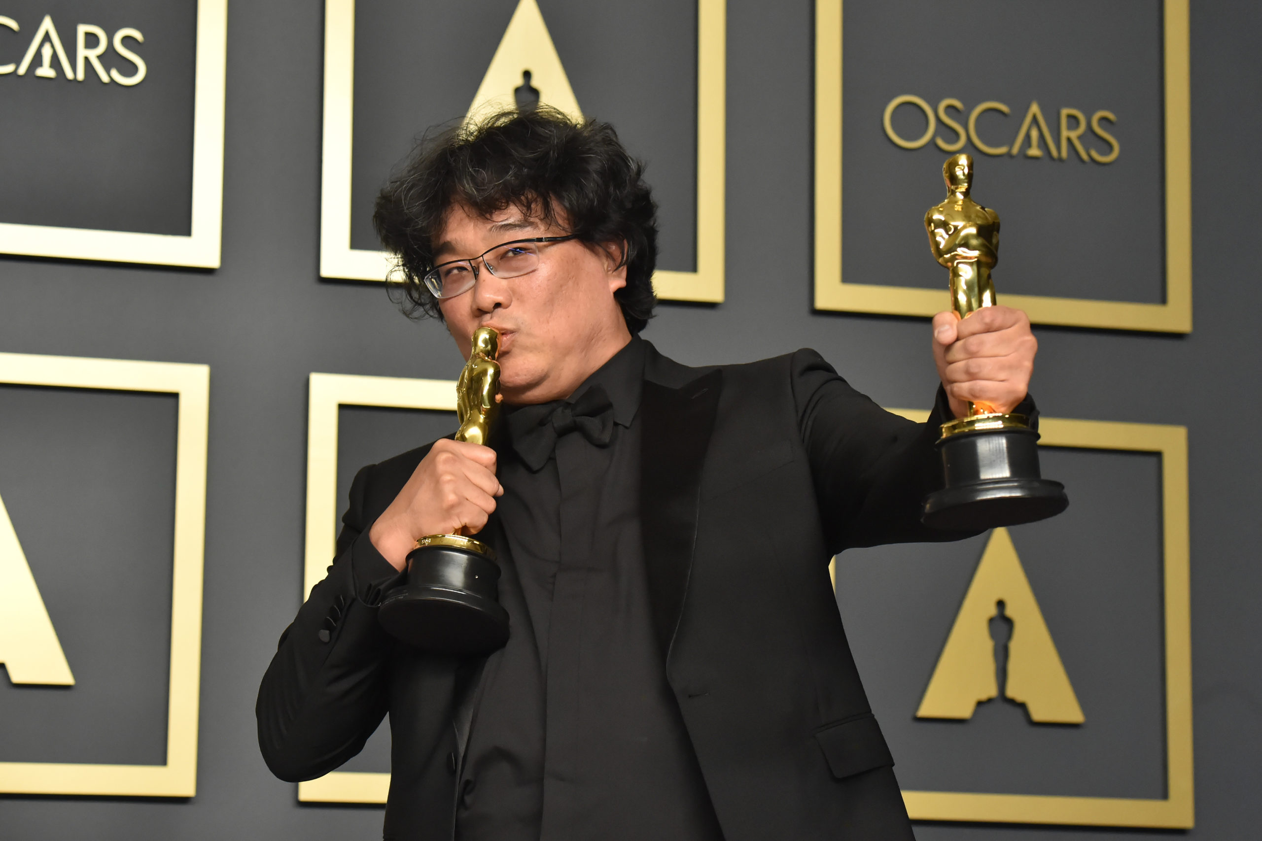 Parasite writer-director Bong Joon-ho, winner of the Best Picture, Director, International Film and Original Screenplay