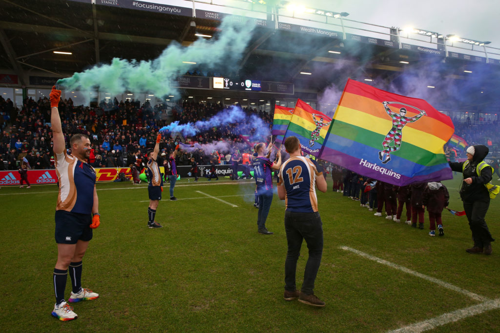 General view of the pre-match celebrations prior to the Gallagher Premiership Rugby match between Harlequins and London Irish at on February 15, 2020 in London, England. (Steve Bardens/Getty Images for Harlequins)