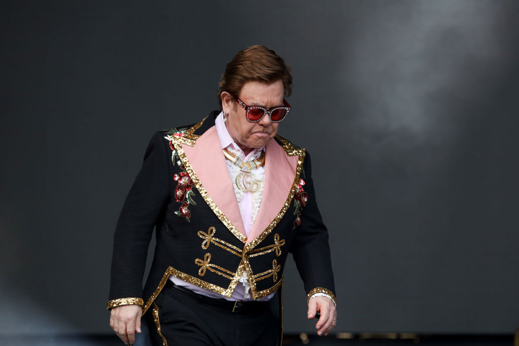 Sir Elton John performs at Mt Smart Stadium on February 16, 2020 in Auckland, New Zealand.