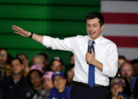 Democratic presidential candidate former South Bend, Indiana Mayor Pete Buttigieg speaks during a rally