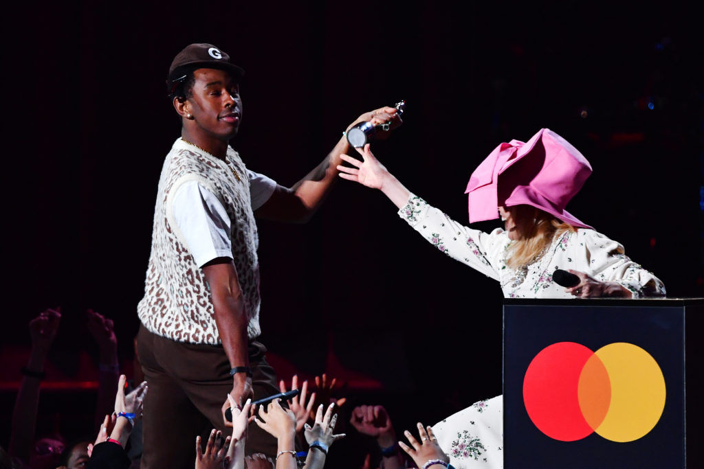 Tyler, The Creator accepts the International Male Solo Artist award from Paloma Faith. (Gareth Cattermole/Getty Images)