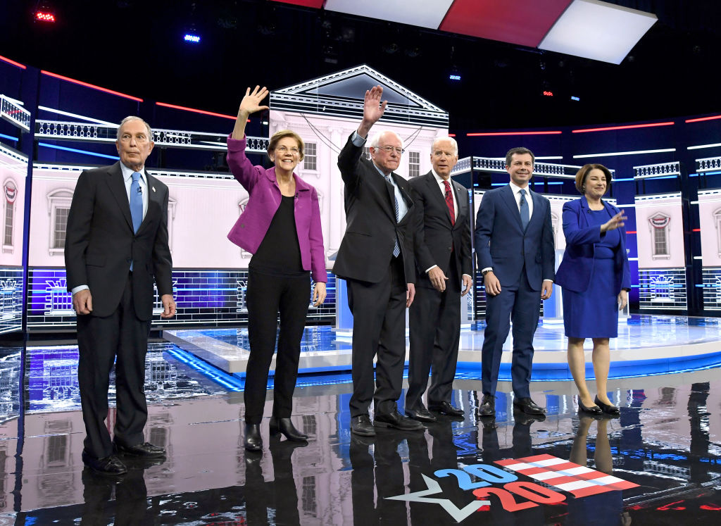 Democratic presidential candidates Mike Bloomberg, Elizabeth Warren, Bernie Sanders, Joe Biden, Pete Buttigieg and Amy Klobuchar