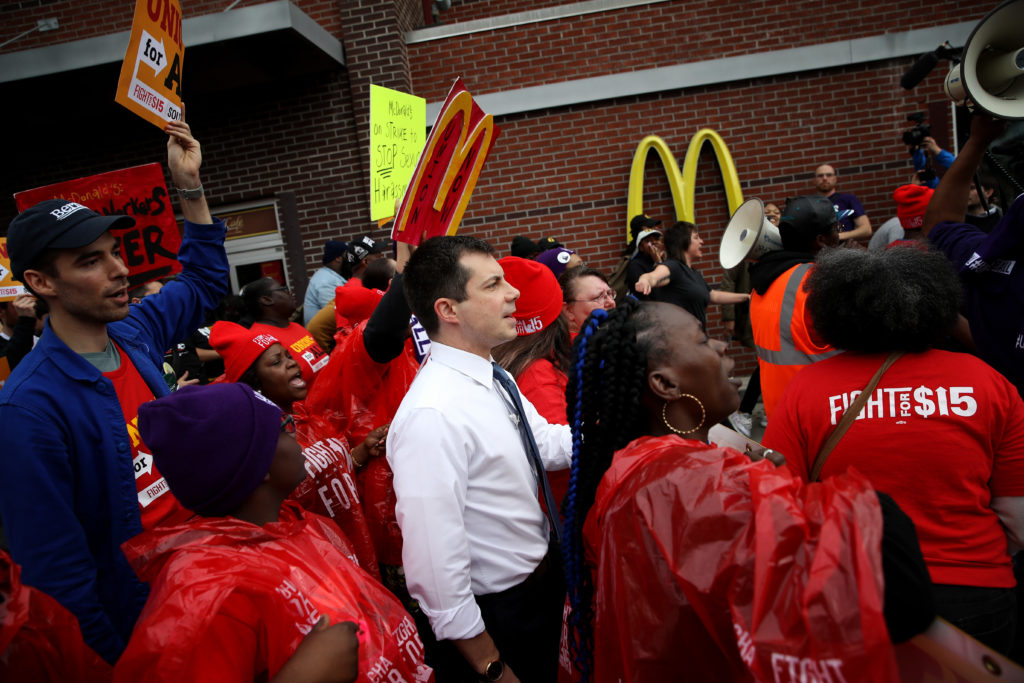 Pete Buttigieg marched with more than 100 protesters ahead of the South Carolina caucus. (Win McNamee/Getty Images)