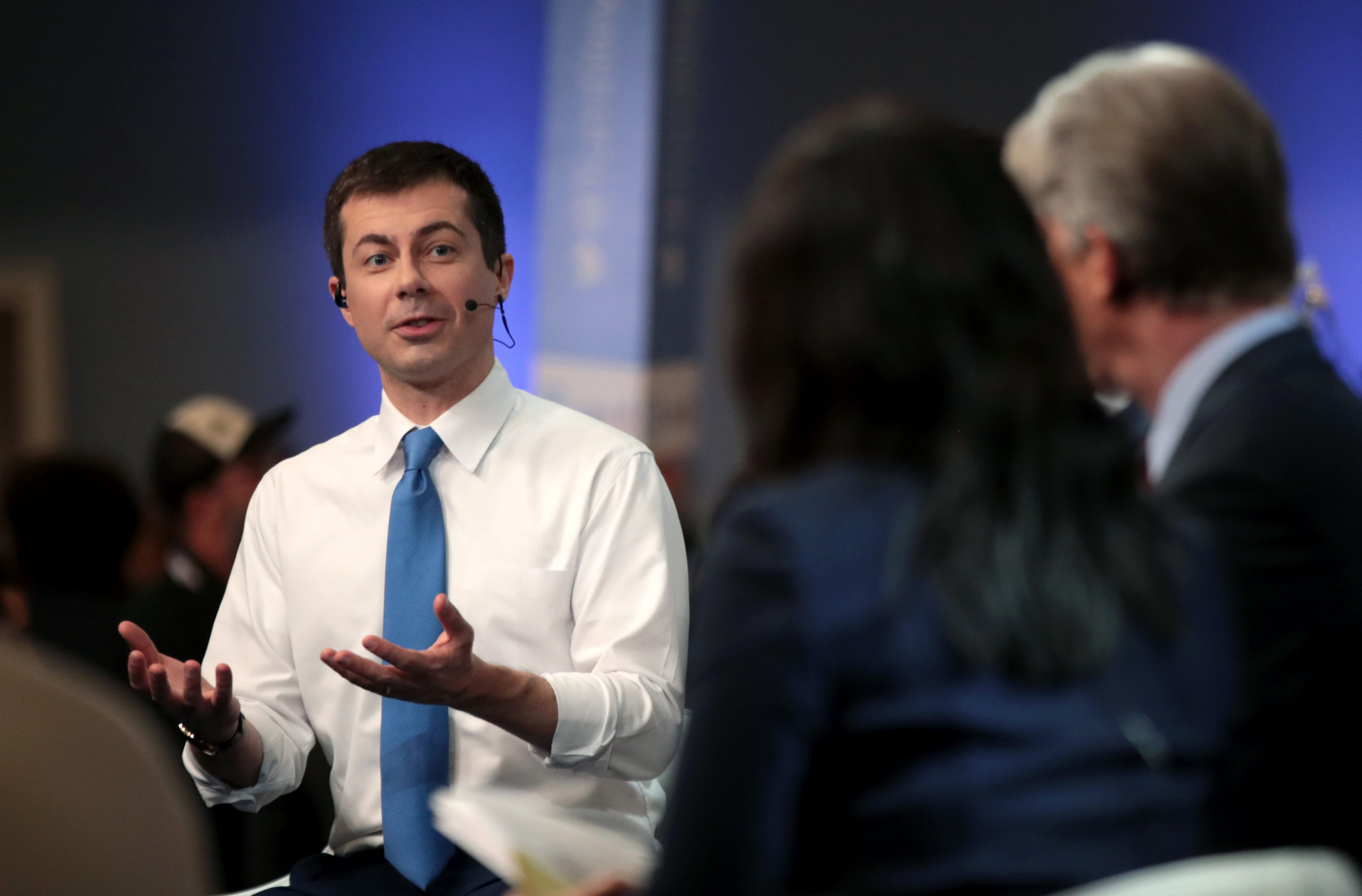 Democratic presidential candidate Pete Buttigieg was grilled by LGBT+ Twitter users for comments made during the Democratic debates. (Scott Olson/Getty Images)