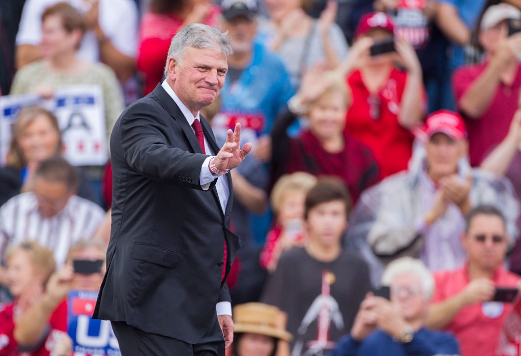 Franklin Graham takes the stage at a Trump rally