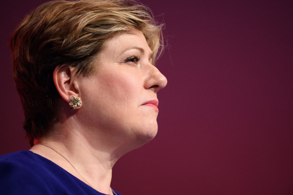 Shadow First Secretary of State Emily Thornberry addresses delegates in the main hall on the second day of the Labour Party conference on September 25, 2017 in Brighton, England. (Leon Neal/Getty Images)