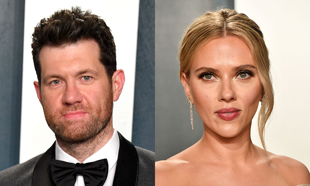 Billy Eichner and Scarlett Johansson at the Oscars