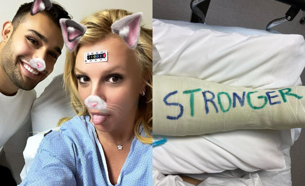 Sam Asghari (L) and Britney Spears take a selfie in a hospital bed after the singer broke a bone in her foot. (Instagram)
