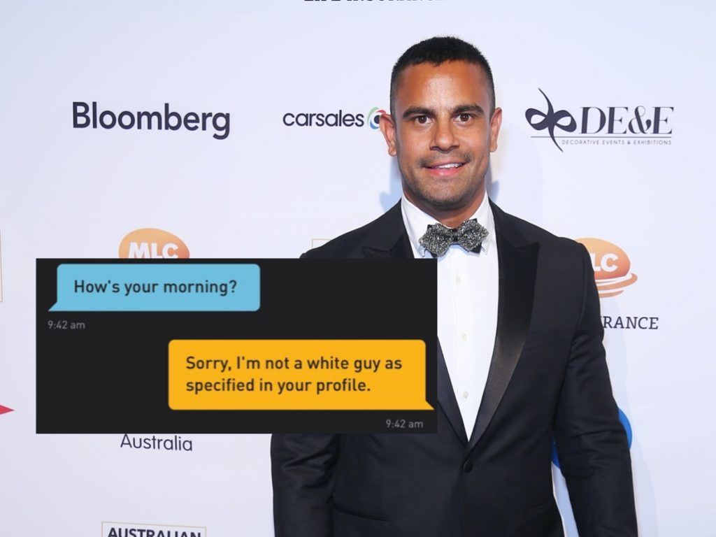 Casey Conway, who is of Aboriginal Australian descent, described an encounter with a racist preference on Grindr. (Grindr/Don Arnold/WireImage)