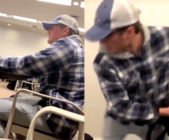A student launched into a verbal and physical tirade in a Californian high school. (Screen captures via Twitter)