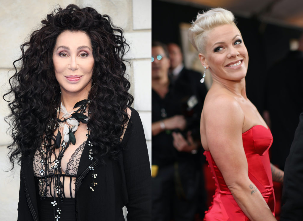 Cher (L) has demanded that singer Pink step up and sing a Trump-version of 'Dear Mr President'. (Mike Marsland/Mike Marsland/WireImage/Christopher Polk/Getty Images for NARAS)