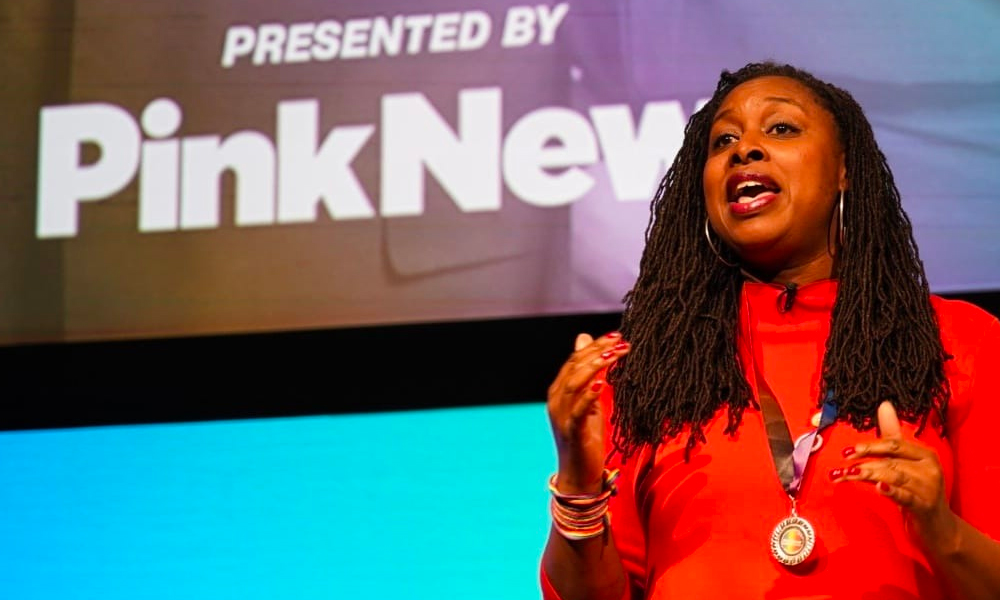 Dawn Butler speaking at the LGBT+ Labour leadership hustings, presented by PinkNews and supported by Diva. (PinkNews)