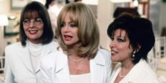 Diane Keaton, Goldie Hawn and Bette Midler wearing white suits in The First Wives Club