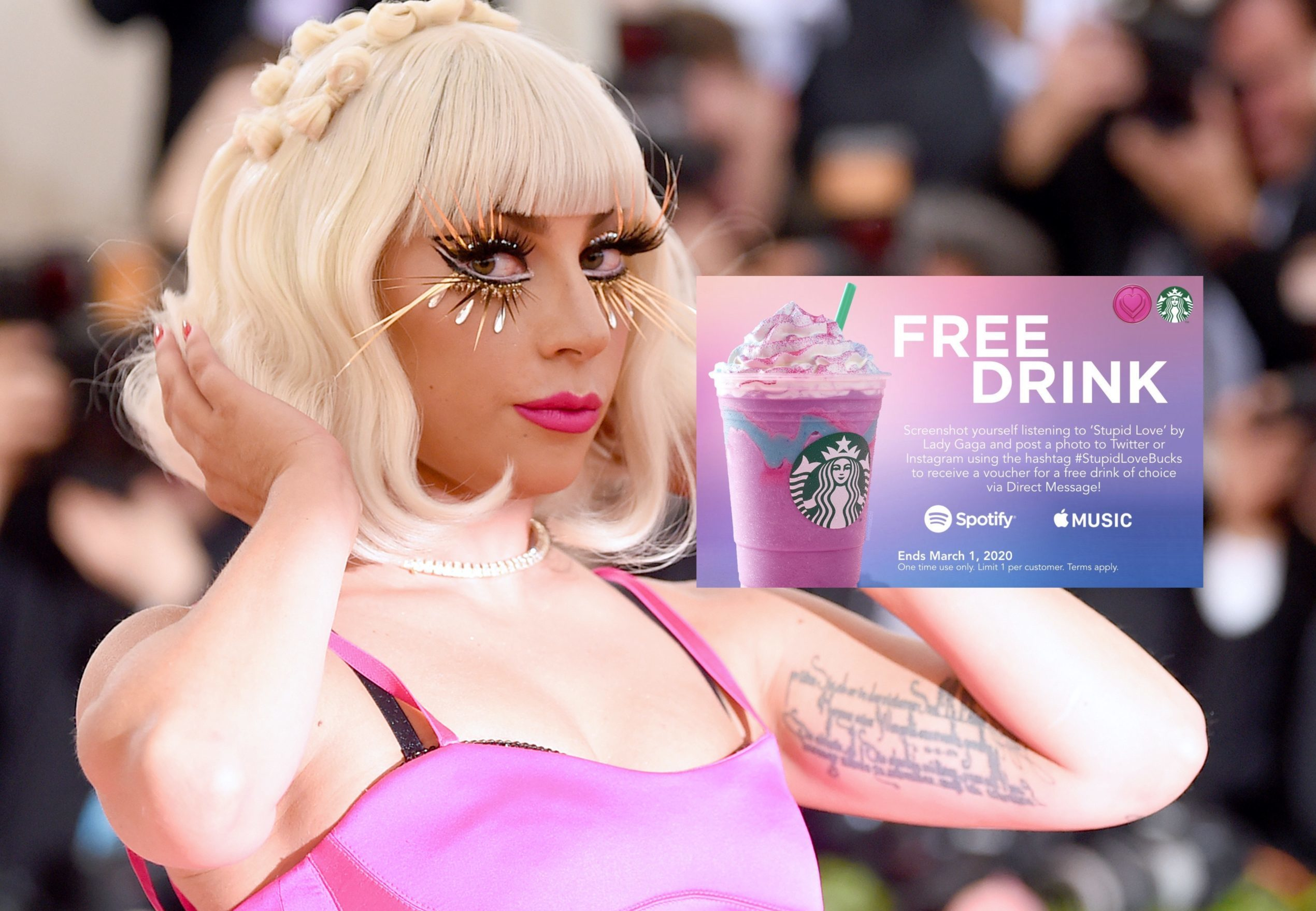"""There's a Starbucks scam circulating online by Lady Gaga fans determined to have """"Stupid Love"""" be streamed to number one. (Jamie McCarthy/Getty Images)"""