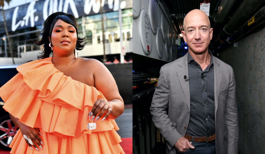 Lizzo and Jeff Bezos snapped a selfie together at the 2020 Super Bowl. (Emma McIntyre/Getty Images for dcp/ Phillip Faraone/Getty Images for WIRED25)