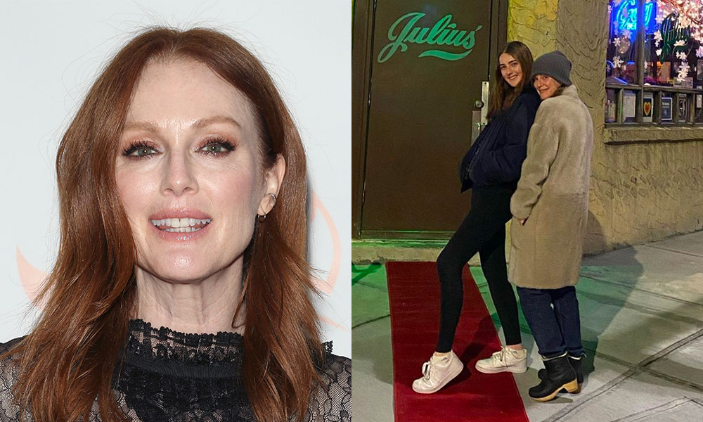 Julianne Moore and her daughter Liv Freundlich outside of Julius'