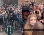 Kaitlin Bennett was swamped by protests at Ohio University. (Screen captures via Twitter)