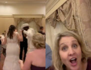 Lil Nas X (Second from L) casually crashed a Disney World Orlando wedding and basically everyone reacted like the guest on the right. (Screen captures via Twitter)