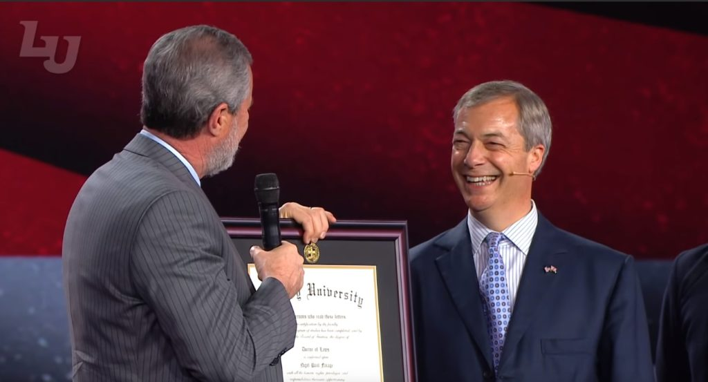 Brexit Party leader Nigel Farage was awarded an honorary doctorate by Liberty University