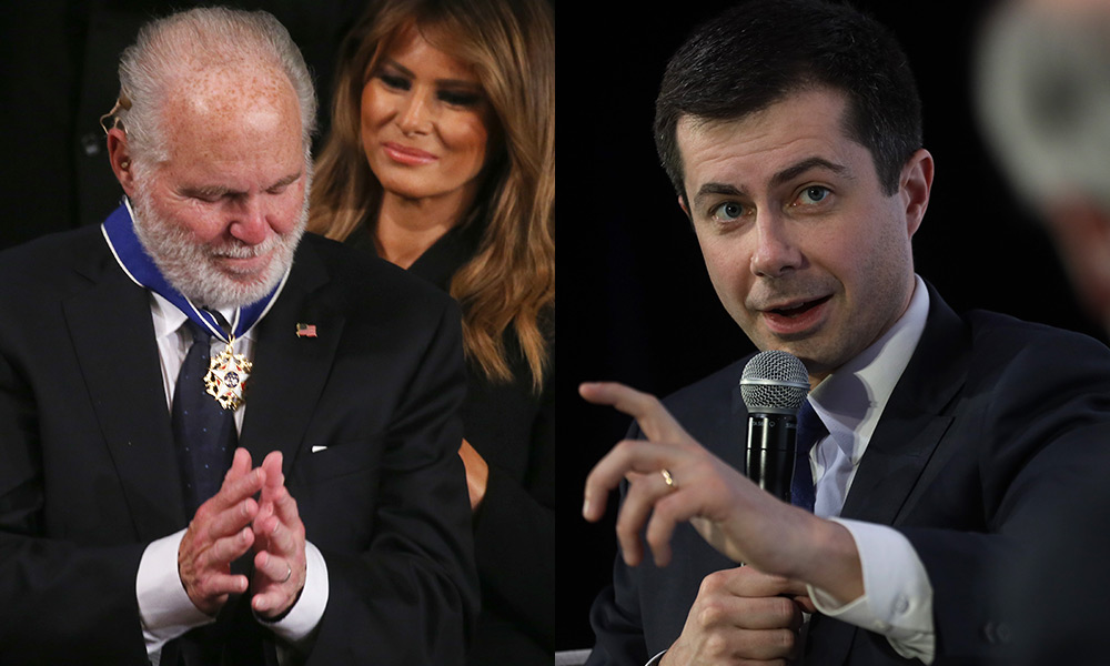 Rush Limbaugh being given the medal of freedom by Melania Trump / Pete Buttigieg