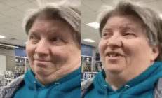 A 'homophobic' caucus-goer has gone viral for her astonishment from learning that Pete Buttigieg is gay. (Screen captures via YouTube)
