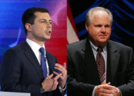Rush Limbaugh (R) supporters have flocked to his defence after comments he issued over Pete Buttigieg (L). (Alex Wong/Bill Pugliano/Getty Images)