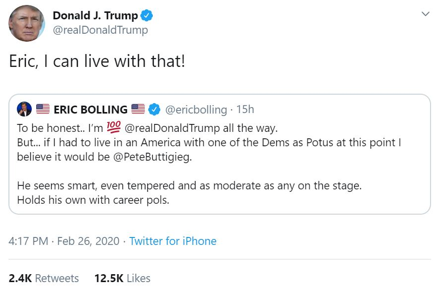 Donald Trump endorsed Pete Buttigieg because this is the world we live in now