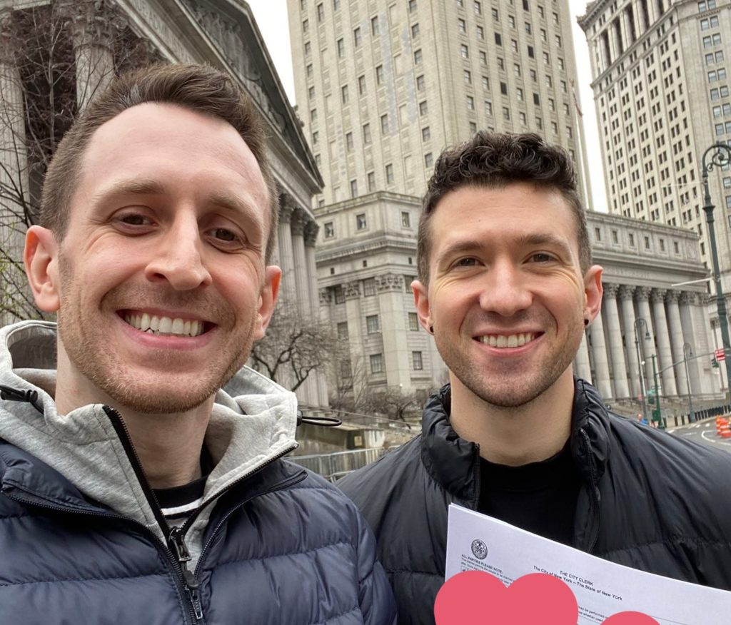 Mitch and Brian weaved through the empty streets and avenues of New York City to make City Hall in time to grab a marriage licence. (Mitch Chase)