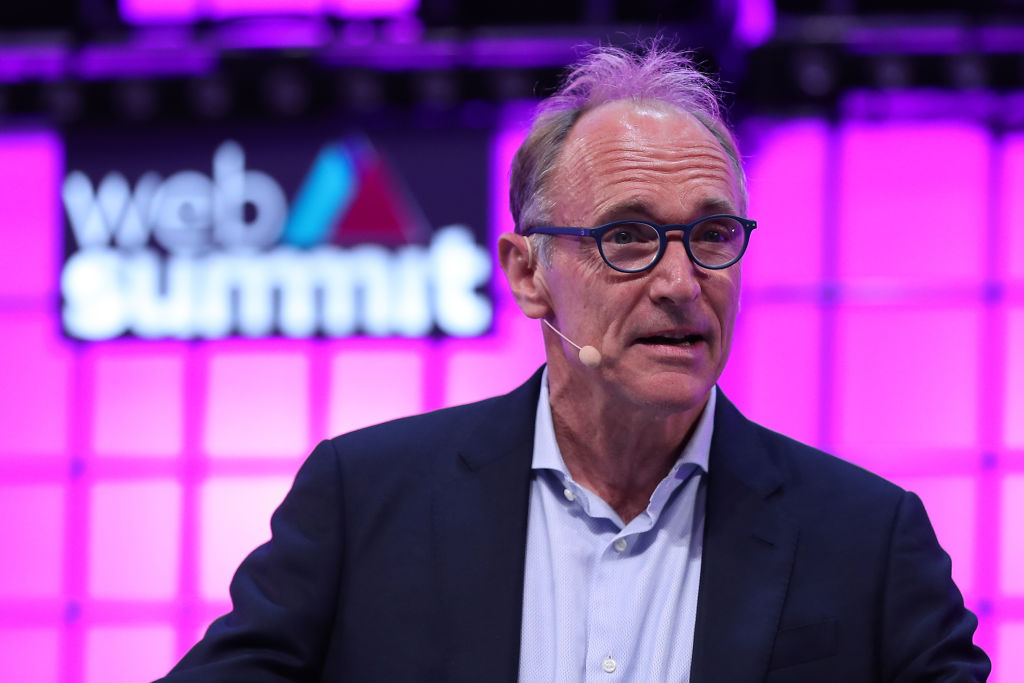 World Wide Web inventor Tim Berners-Lee speaks during the Web Summit 2018