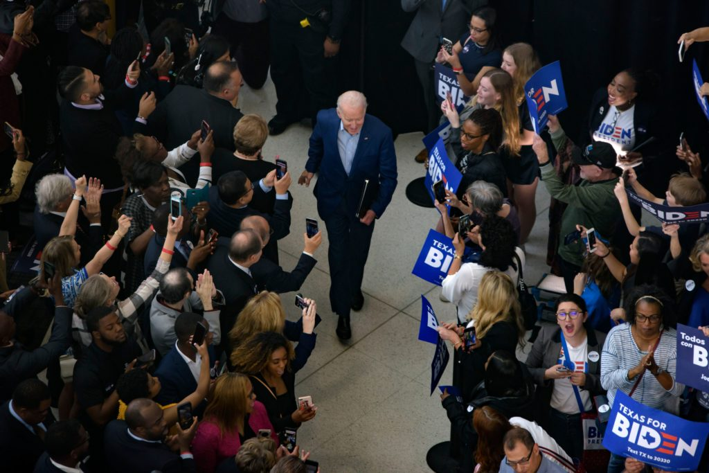 Presidential candidate Joe Biden, once considered a spent false, has since surged thanks to backings from former rivals. (MARK FELIX/AFP /AFP via Getty Images)