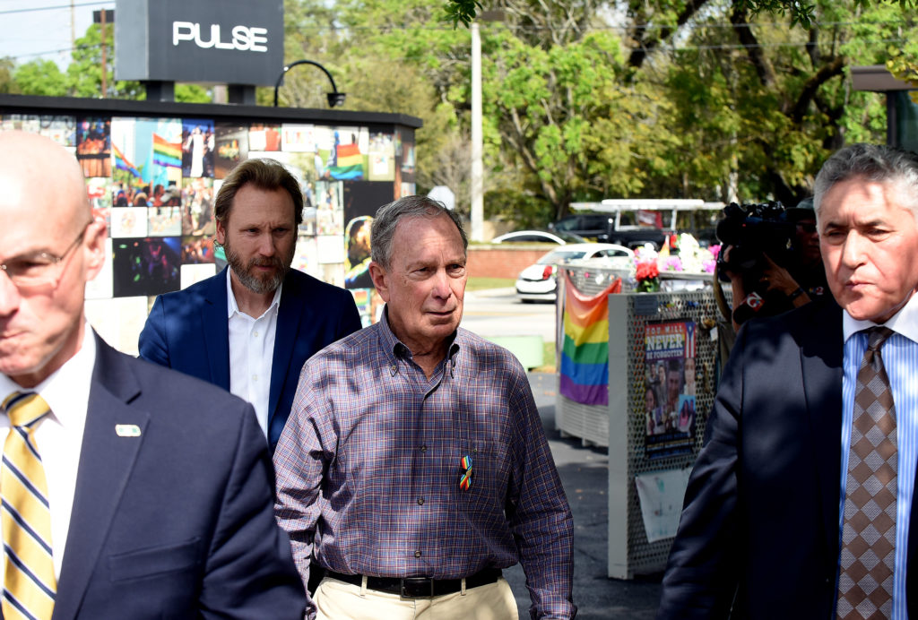Michael Bloomberg departs after visiting the Pulse memorial with Fred and Maria Wright, whose son, Jerry Wright, was killed during the Pulse shooting. (Paul Hennessy/NurPhoto via Getty Images)