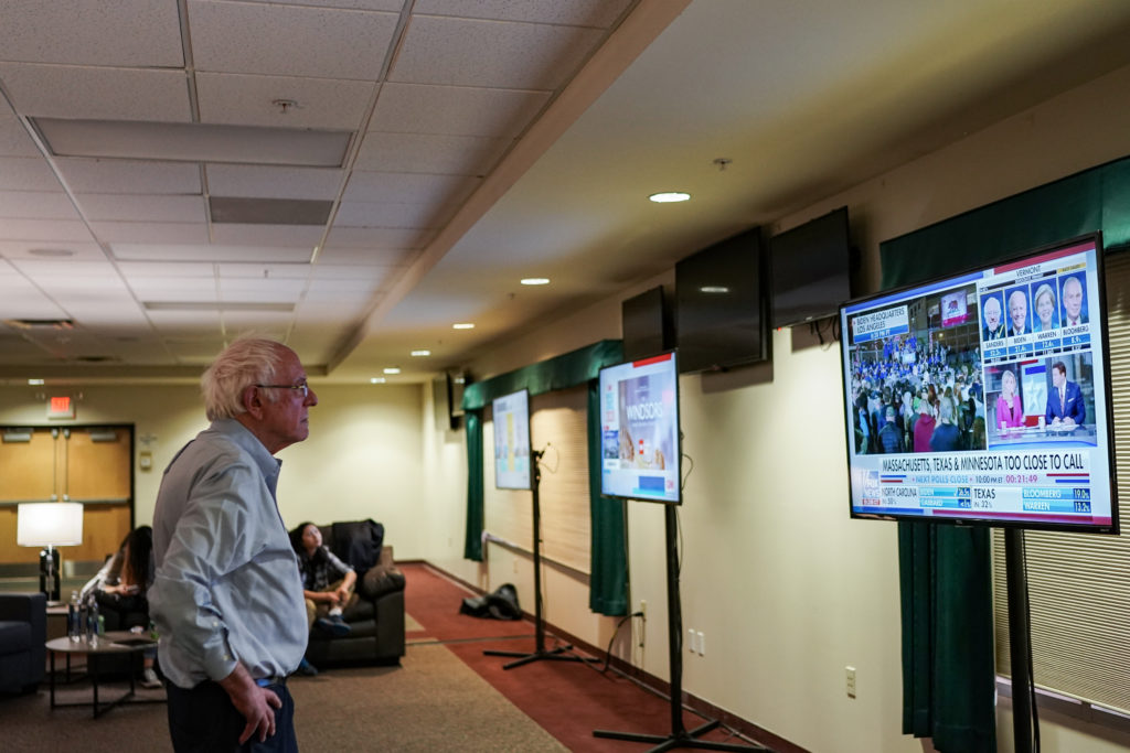 Bernie Sanderswatches Super Tuesday results as they come. (Salwan Georges/The Washington Post via Getty Images)