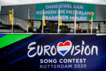 The Eurovision logo seen outside the Rotterdam Ahoy, the official venue for the planned Eurovision Song Contest 2020.