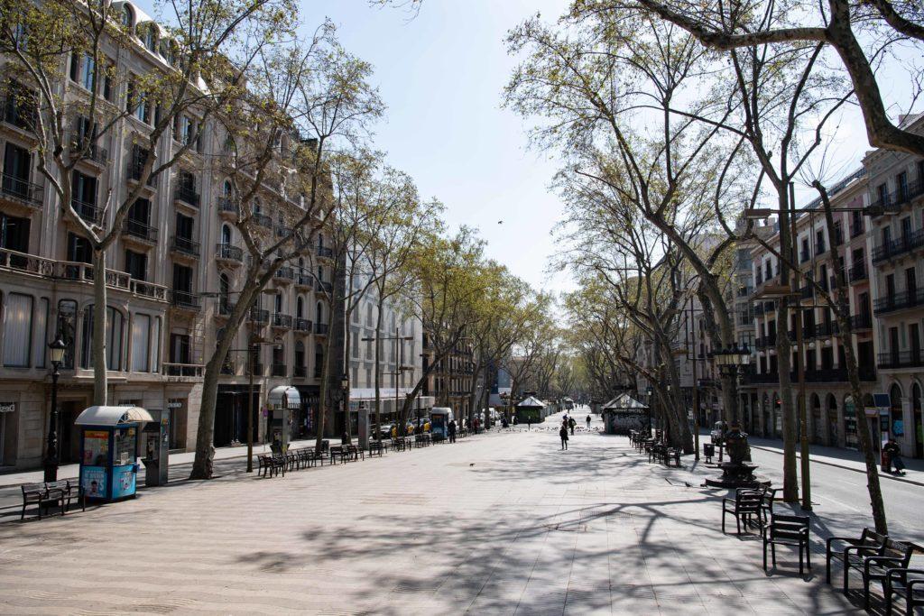 Barcelona, Spain, is virtually still since leaders announced a lockdown amid the coronavirus pandemic. (Josep LAGO / AFP) (Photo by JOSEP LAGO/AFP via Getty Images)
