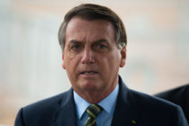 Brazilian President Jair Bolsonaro during a press conference amidst the coronavirus (COVID - 19) pandemic.