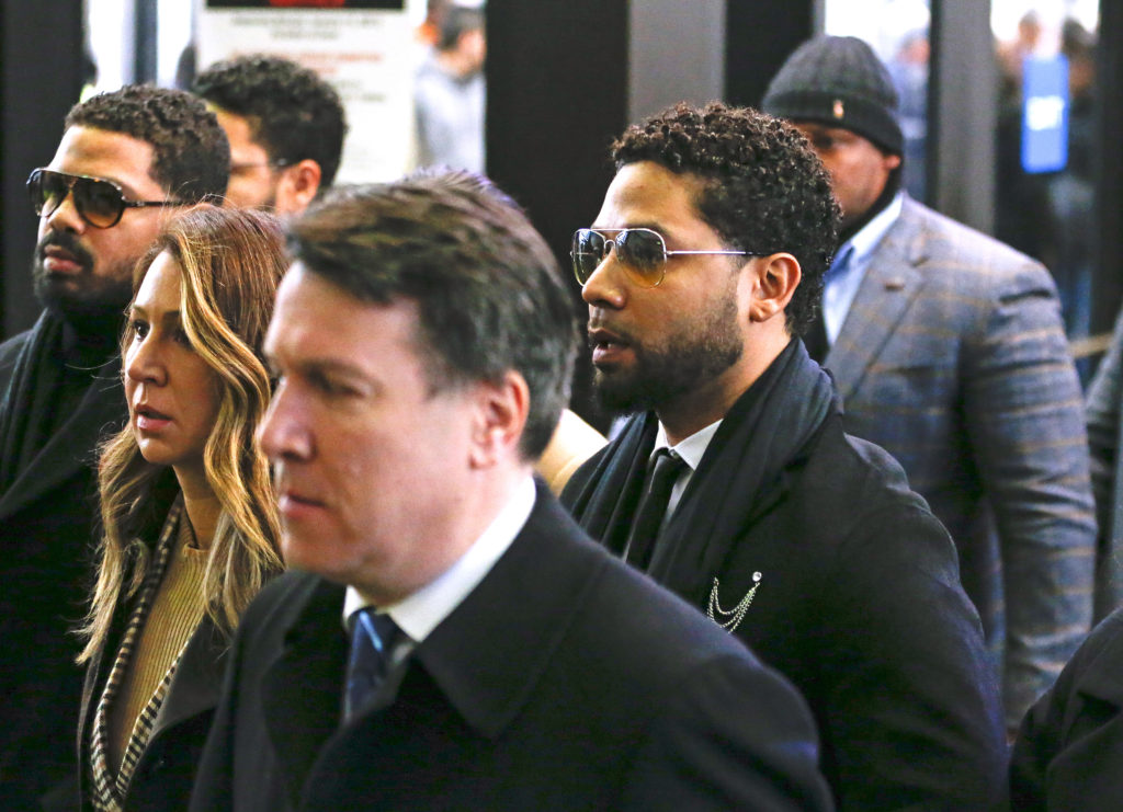 Flanked by attorneys and supporters, actor Jussie Smollett arrives at the Leighton Criminal Courthouse on February 24, 2020 in Chicago, Illinois. (Nuccio DiNuzzo/Getty Images)