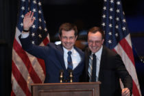 Pete Buttigieg with his husband Chasten in South Bend, Indiana, where he announced he was dropping out of the presidential race
