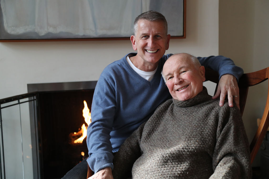 Playwright Terrence McNally and theatrical producer Tom Kirdahy in their home on March 2, 2020 in New York City.