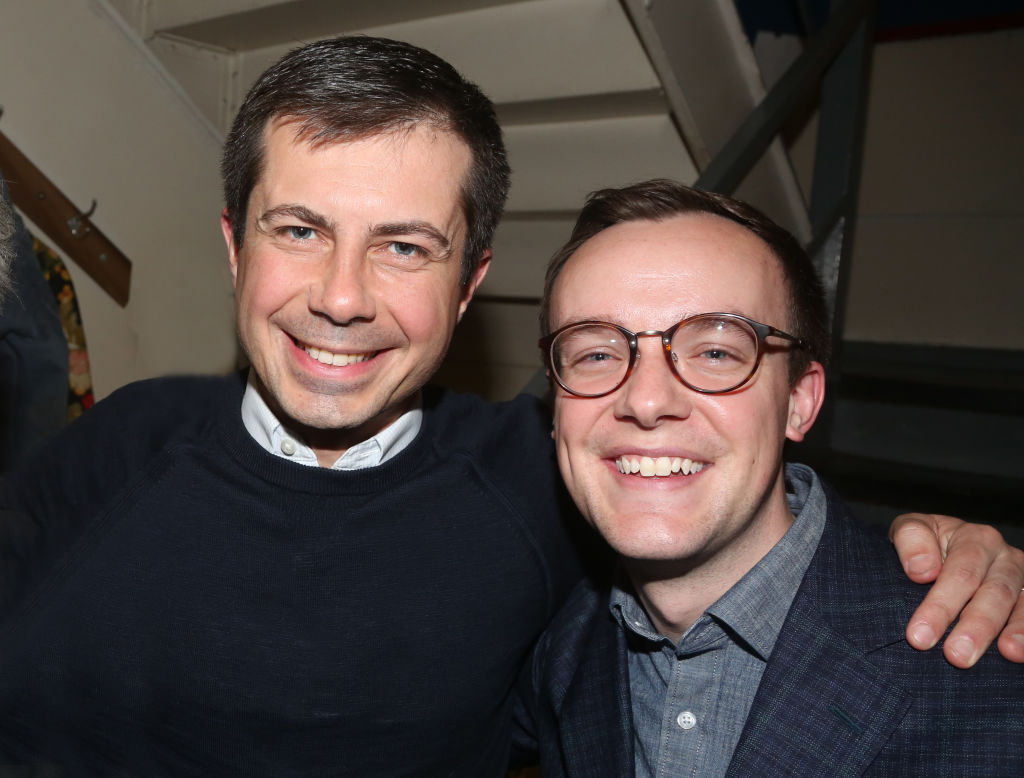Pete Buttigieg and husband Chasten Buttigieg pose backstage at the hit play 'The Inhertance' on Broadway at The Barrymore Theatre