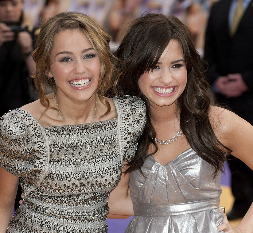 Miley Cyrus and Demi Lovato at The UK premiere of 'Hannah Montana' in 2009