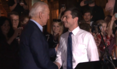 Joe Biden (L) received the indelible endorsement from Pete Buttigieg after he suspended his presidential bid. (Screenshot via YouTube / NBC)