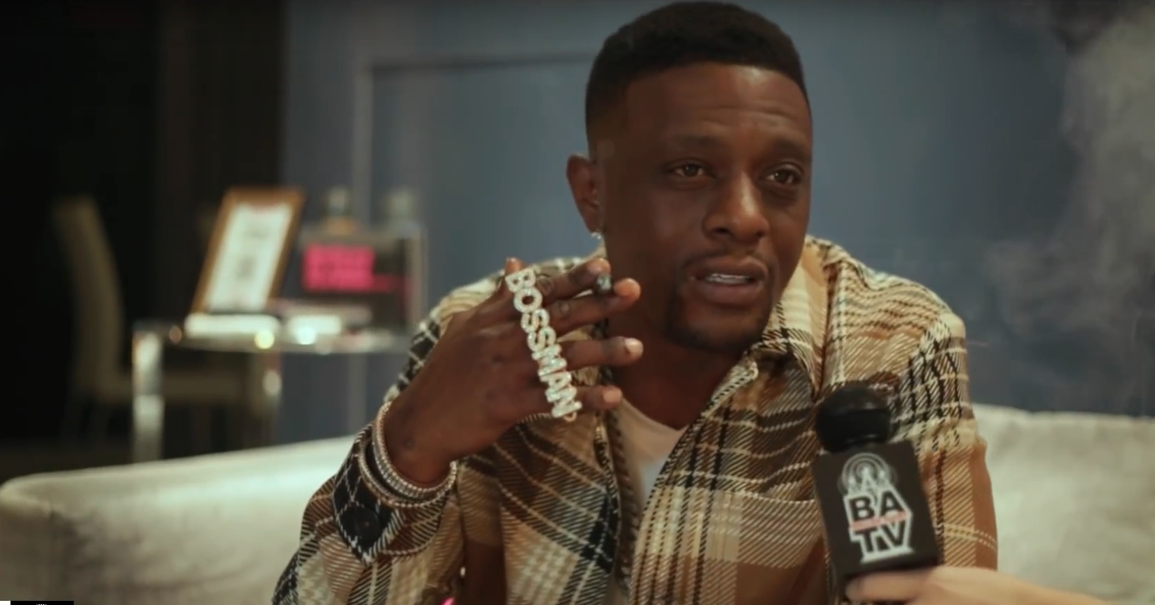 Rapper Boosie Badazz appeared on Baller Alert to diffuse the bubbling backlash he has received after barbed comments towards Dwyane Wade's trans daughter. (Screenshot via YouTube / Baller Alert)