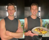 Antoni Porowski, who has large arms, has posted easy recipes for folks in quarantine to cook. (Screen captures via Instagram)