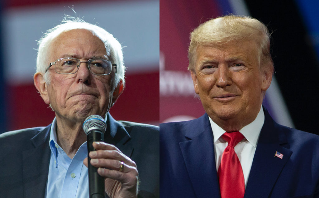 Vermont senator Bernie Sanders and US president Donald Trump showed their differences in reacting to Pete Buttigieg dropping out of the presidential race. (David McNew/Tasos Katopodis/Getty Images)