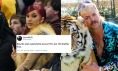 Cardi B (L) vowed to raise funds for jailed Tiger King star Joe Exotic through a GoFundMe page, but the platform refused her plea. (Kevin Mazur via Getty Images/Netflix)