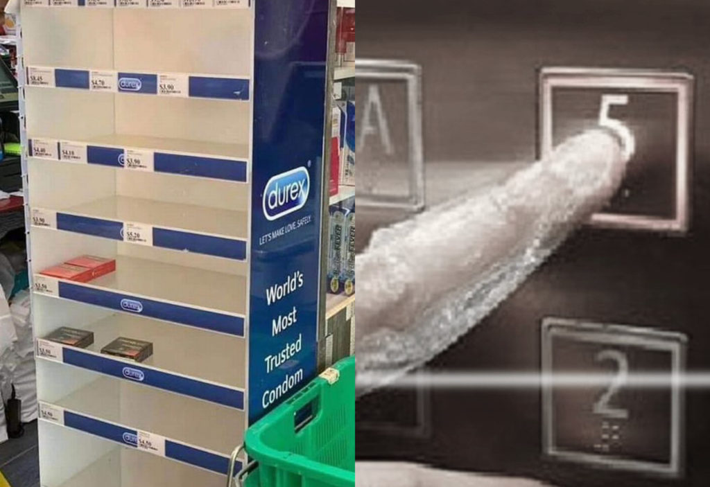 Panicked members of the public have clogged supermarkets and pharmacies to stock-up on condoms amid the coronavirus epidemic. (Facebook/Twitter)